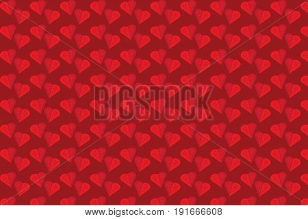 Pattern with red hearts for background,wallpaper,clothing,wrapping,Batik,fabric,Vector illustration style.