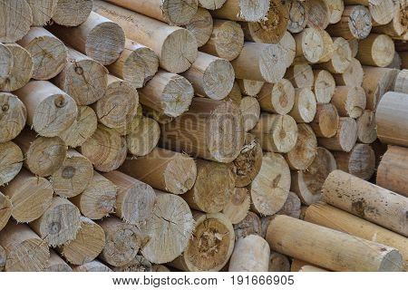 Natural wooden background - chopped firewood. Firewood stacked and prepared for winter Pile of wood logs.