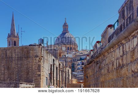 View of St. Paul's Cathedral on a sunny day. Malta. Valletta.