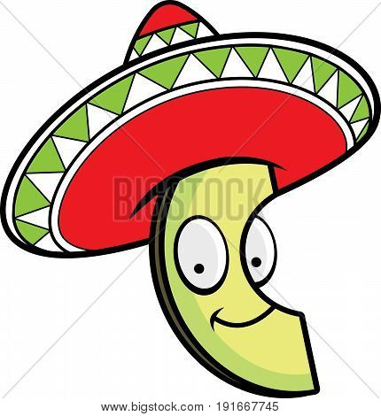 A cartoon illustration of an avocado wearing a sombrero and smiling.