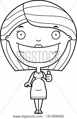 Cartoon Pregnant Woman Thumbs Up
