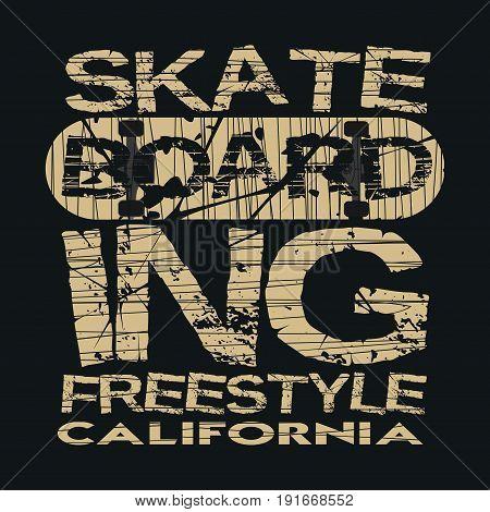 skateboarding t-shirt inscription typography graphic design California skateboard