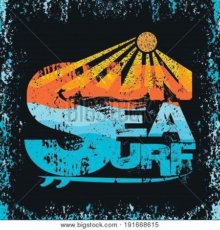 Surfing Miami Beach Florida surfing t-shirts inscription typography graphic design emblem