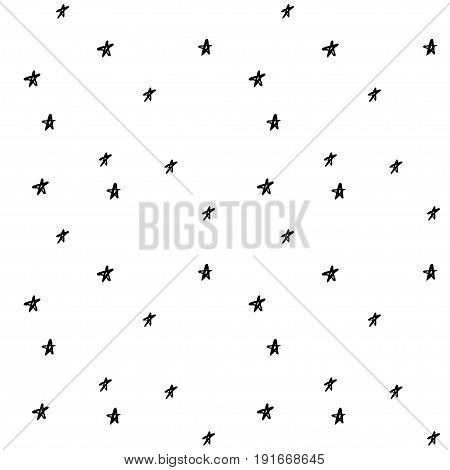 Vector seamless cartoon pattern with stars. Cute black and white hand drawn pattern for paper textile handmade decoration scrap-booking polygraphy t-shirt cards.