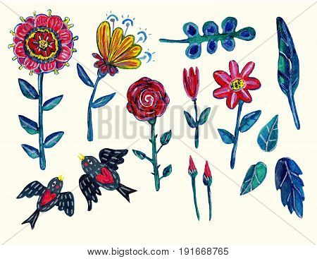 Garden  clipart with flowers, leaves and two swallowes. Isolated elements. Acrylic hand-drawn illustration with some digital touches. Can be used for your design project