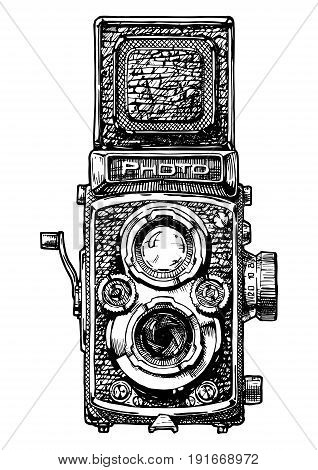 Vector hand drawn sketch of twin-lens reflex camera in vintage engraved style on white background