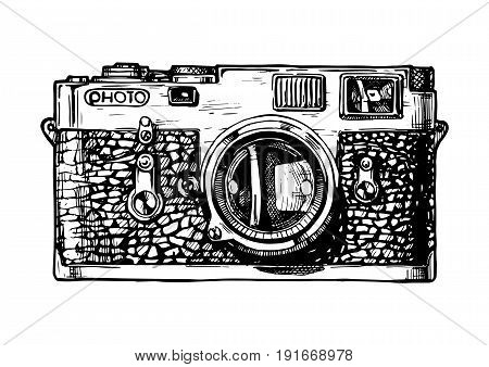 Vector hand drawn sketch of rangefinder camera in vintage engraved style on white background