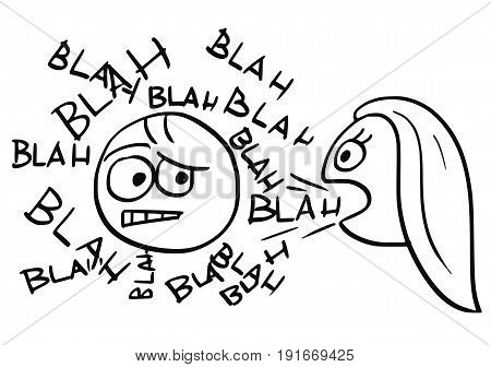 Cartoon vector of sick man surrounded by words blah coming from mouth of talking woman