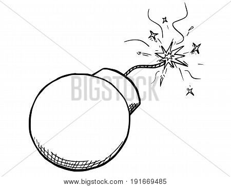 Cartoon vector of retro bomb with its safety fuse burning
