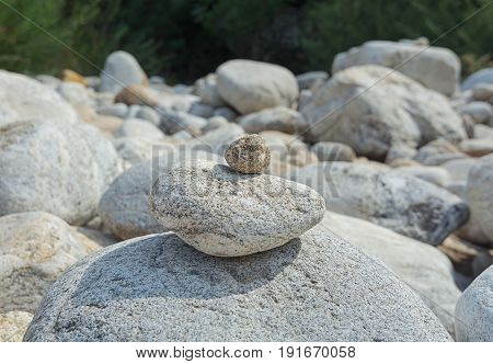 Cairns along the river Ardeche in France