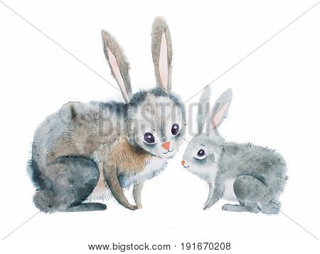 Mother rabbit and baby hand-drawn with aquarelle technique.