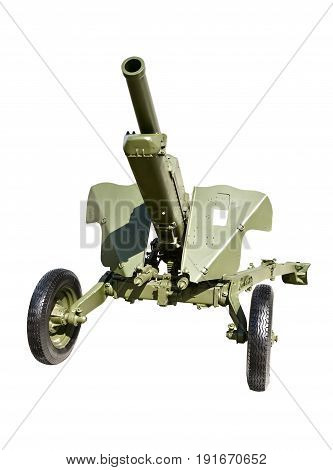 Artillery gun. Gun of the second world war. Green rubber inflatable wheels. Long rifled barrel. Isolated on white background.