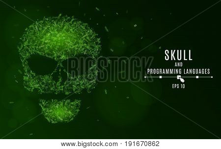 Abstract glowing skull of green color from the symbols. Tags of programming languages. Database. System attack by hackers. Vector illustration. EPS 10