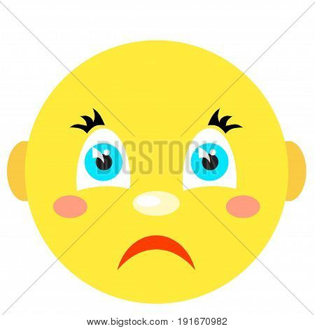 Sad smiley. Icons on a white background. Vector image in a cartoon style