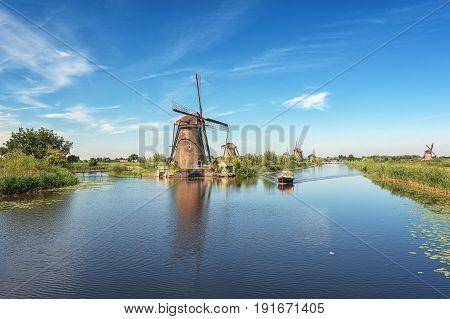The Kinderdijk mills cover nineteen mills in the northwest of the Alblasserwaard a polder in the province of Zuid-Holland in The Netherlands