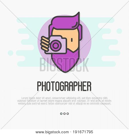 Hipster, bearded man with camera is making photo. Thin line icon for logo of photographer. Vector illustration.