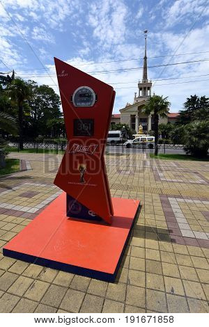 18 June 2017, Sochi, Russia, the area in front of the seaport. The clock shows the time until the world Cup fifa 2018