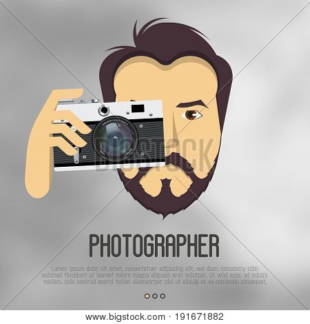Hipster, bearded man with camera take a photo. Realistic vector illustration for logo of photographer, cameraman, filmmaker. Vector illustration.
