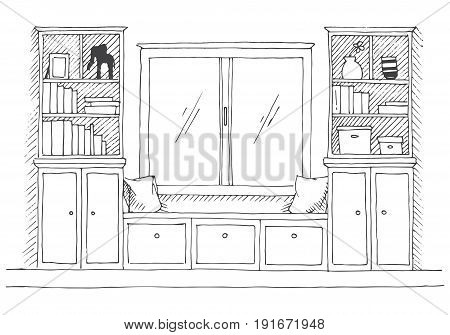 Modern interior. A place to relax before the window. On the sides of the bookcases. Vector illustration of a sketch style.