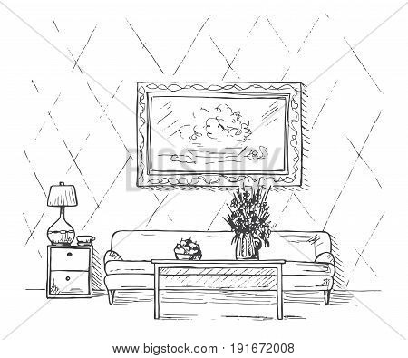 Linear sketch of an interior. Sofa table bedside table lamp flower and picture.Hand drawn vector illustration of a sketch style.