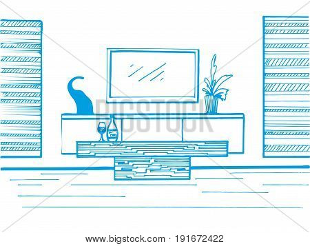 Hand drawn sketch. Linear sketch of the interior. TV TV table table and decor. Vector illustration.