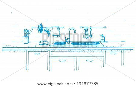 Kitchen worktop with sink. Vector illustration in sketch style. Sketch drawn by a blue pen.