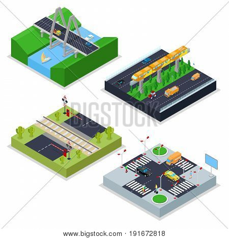 Isometric Urban Roads with Railway, Crossroad, Cars and Bridge. City Traffic. Vector flat 3d illustration