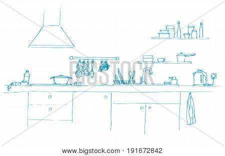 Kitchen sink. Kitchen worktop with sink. The sketch of the kitchen