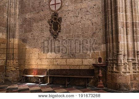 SEGOVIA SPAIN JUNE - 3 2017: Interior in Chapel Our Lady of Rosary in Cathedral of Our Lady of Assumption corner of withdrawal and prayer illuminated by the light the sun take in Segovia Spain