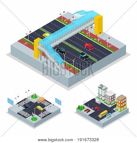 Isometric Urban Road with Crosswalk and Buildings. City Traffic. Vector flat 3d illustration