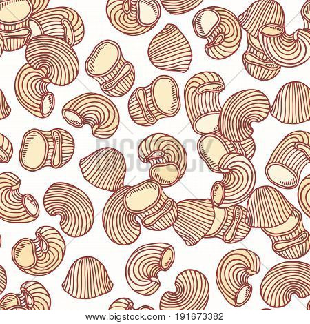 Hand drawn pasta pipe rigate seamless pattern. Background for restaurant or food package design. Vector illustration