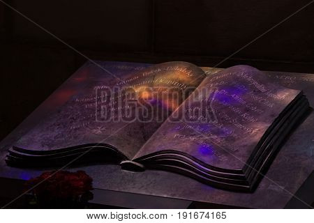 Bewitched Book With Magic Glows In The Darkness.