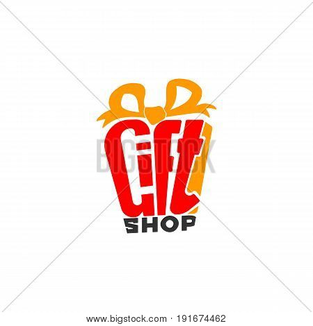 Vector logo for gift shop. Design element for holidays, anniversary, birthday. Present symbol. Hand drawn lettering gift with bow.