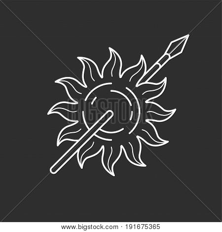 Sun and spear icon in thin outline style. Vector illustrations