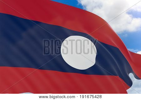 3D Rendering Of Laos Flag Waving On Blue Sky Background