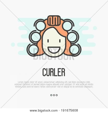 Happy cartoon woman with curlers. Thin line vector illustration.