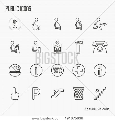 Public, warning and priority seats signs. Thin line vector illustration.