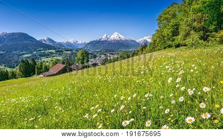Panoramic View Of Beautiful Mountain Landscape In The Bavarian Alps With Village Of Berchtesgaden An