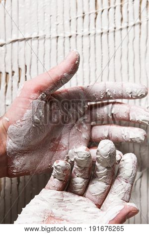Closeup Worker Hands White Plaster Repair Background Stucco Surface Construction Concept