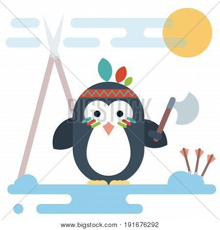 Vector penguin character stylized as a native American with tomahawk. Modern flat illustration.