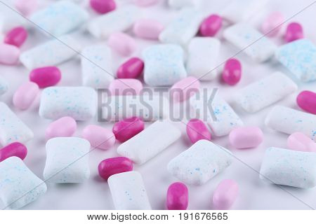 Different chewing gums on a white background