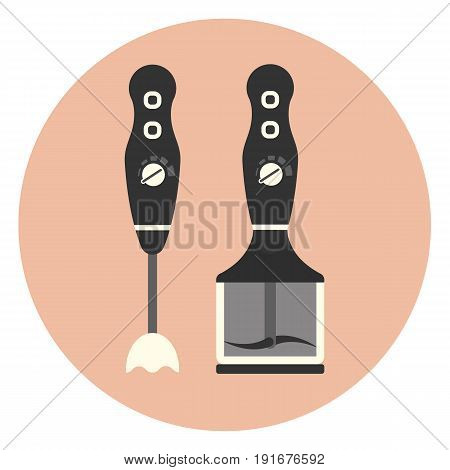 Flat vertical blender icon monochrome kitchen mixer symbol
