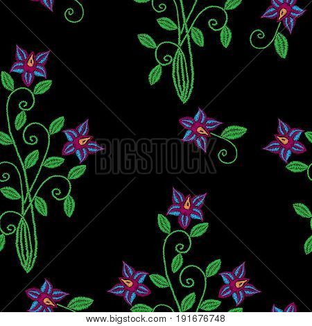 Seamless pattern with embroidery stitches imitation flower and leaf. Folk flower embroidery pattern for printing on fabric paper for scrapbook gift wrap.