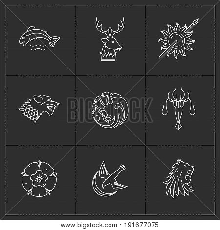 Lion, wolf, dragon, rose, octopus, fish, deer, bird, sun icons in thin outline style. Vector illustration