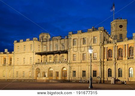 May night at the entrance to the Grand Gatchina Palace. Gatchina, Russia