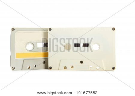 White Cassette Tapes Isolated On White Background