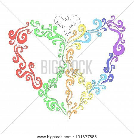 Pastel rainbow heart of twisted lines with pigeons a bright symbol of peace. Vector illustration of a floral heart with a world sign on a white background.