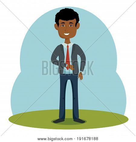 Afro american businessman over blue green and white background vector illustration