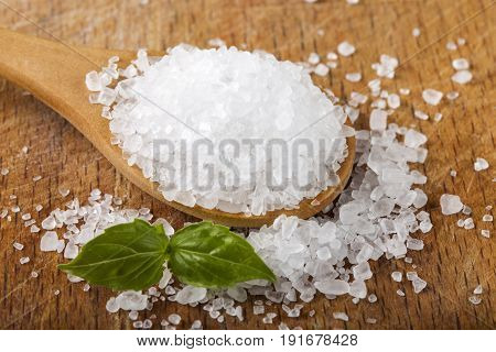 Close up of sea salt in wooden spoon with basil over wood background