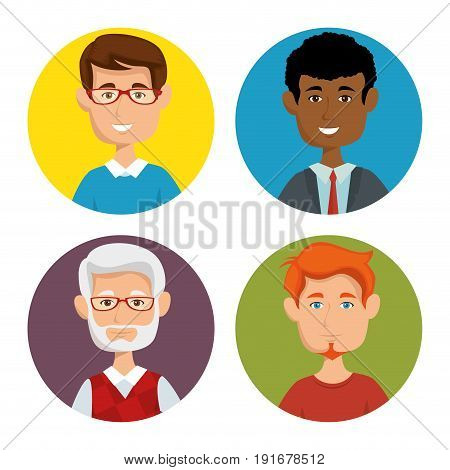 Men of different age icon set over wite background vector illustration